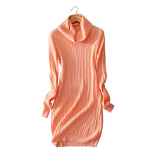 5 colors Women's dress 100% cashmere knitted knee length dresses turn-down collar warm winter/spring outwear