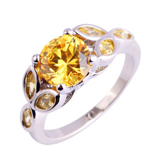 Buy Lingmei handmade Yellow CZ Silver plated Ring Size 6 7 8 9 10 11 Fashion gems Jewelry women Rings wholesale Free for $2.74 in AliExpress store