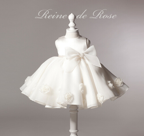 2015 summer white dress for baptism flowers baby girls clothes infant clothing big bowknot children costume kids wedding dresses(China (Mainland))