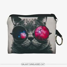3D Printing Galaxy Sunglasses Cat Coin Purse With Zipper Mini Wallet Men & Women Bag Ladies Purse Designer Handbags Clutch AW(China (Mainland))