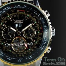 2015 JARAGAR Luxury Watch Men Day/Month Flywheel Mechanical Watches Stell Men's Watch Wristwatch Gifr Box Free ship