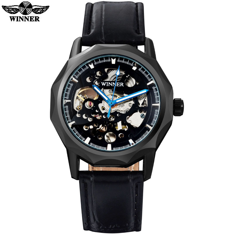 2016 WINNER famous brand men fashion automatic self wind watches skeleton black dial transparent glass black case leather band<br><br>Aliexpress