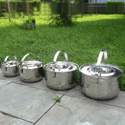 free shipping outdoor cooking pots 1-6litre 4 pots in one set thickening stainless steel camping cookware pot(China (Mainland))