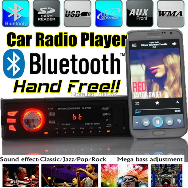 new 12V New Car radio player bluetooth Car audio Stereo Player Bluetooth Phone charger AUX-IN MP3 FM/USB/1 din w/Remote Control