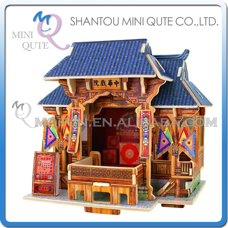 5pcs/lot Mini Qute 3D Wooden Puzzle Chinese classic Theatre architecture famous building kids model educational toy gift NO.F130(China (Mainland))