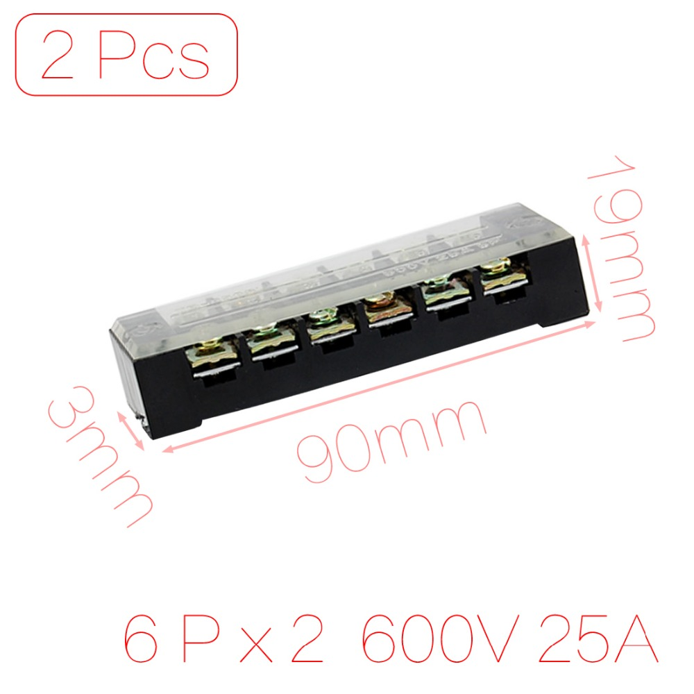 2 Pcs 600V 25A 6 Position Screw Terminal Covered Barrier Stripe