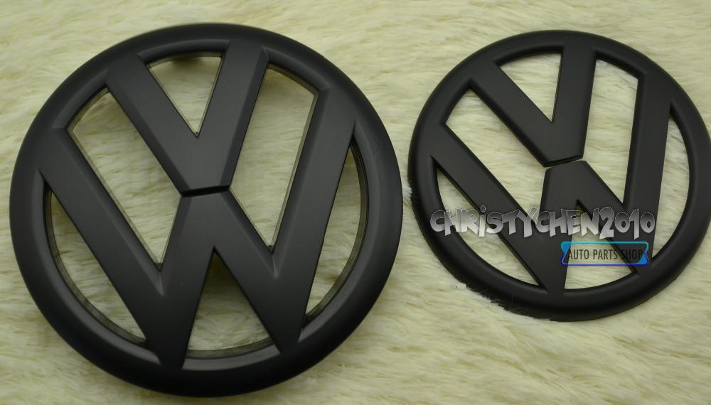 2PC* VW 138mm/110mm Bonnet Boot Badge for VW Golf 6 MK6 GTD Hood Trunk Emblem VW Matt Black GRILL Rear BADGE FR111(China (Mainland))
