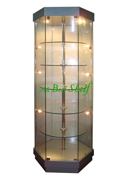 2014 rotating shelves free standing tower glass showcase. Black Bedroom Furniture Sets. Home Design Ideas