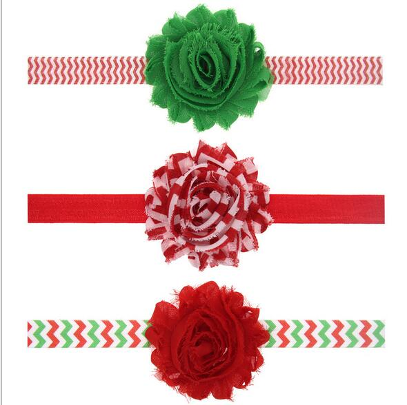 10pcs/lot Christmas gifts children Baby green red flower hairband Headband Girl Hair Accessories for party favors CN0080(China (Mainland))