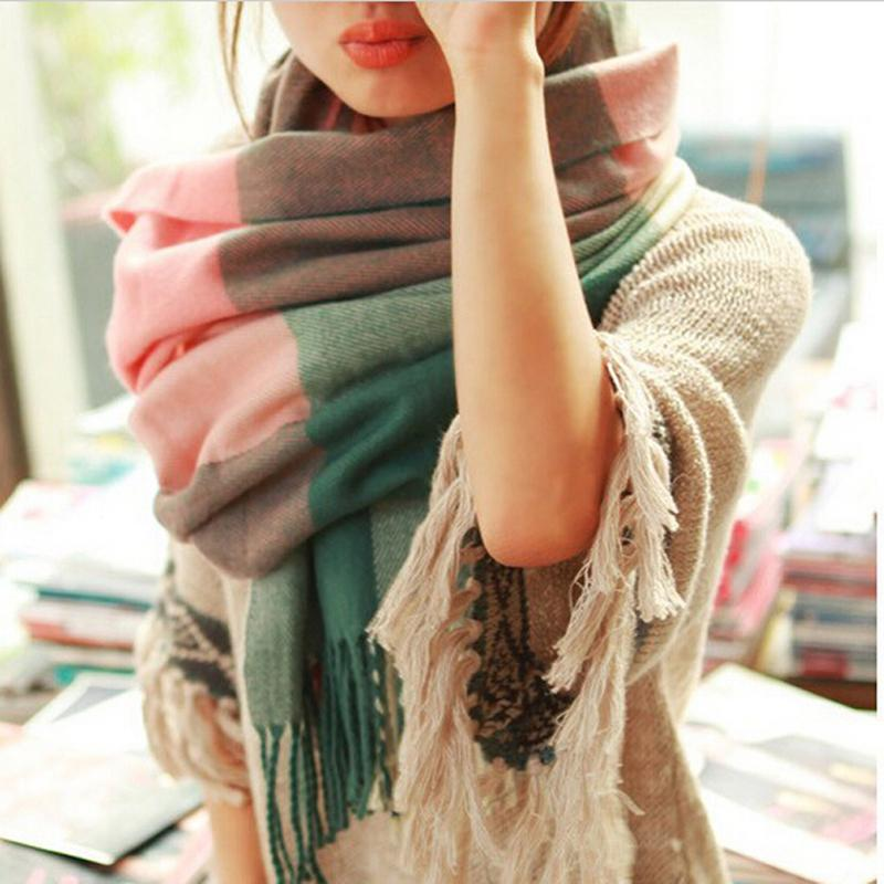 luxury brand scarf women 2016 Wool Winter Scarf Women Plaid Thick Shawls and Scarves Long Scarf For Women(China (Mainland))