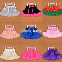 Baby kids solid color girls fluffy dance wear pettiskirts cute chiffon tutu princess skirts 9 Colors Free shipping 35(China (Mainland))