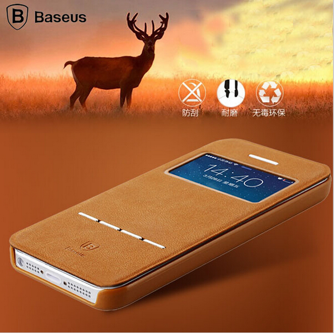 Original Baseus Brand View Window Flip Leather Case For iPhone 5 5S 5G Smart Answer / Sleep Phone Cover Bag For iPhone 5S Brown(China (Mainland))
