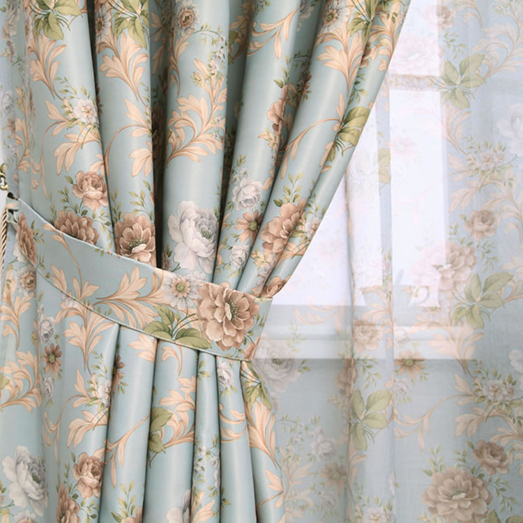 Hot Sale Modern Rose Floral Curtains For Window Curtain