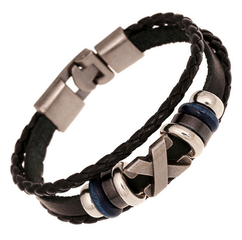 2016 Cross Charm Braided Men Bracelet Jewelry Hand Woven PU Leather Bracelets Bangles Black Wristband(China (Mainland))