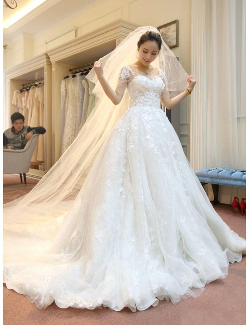 Новый Vestido де Noiva роскошные цветы свадебное платье лучшие кружева одеяние де свадебная