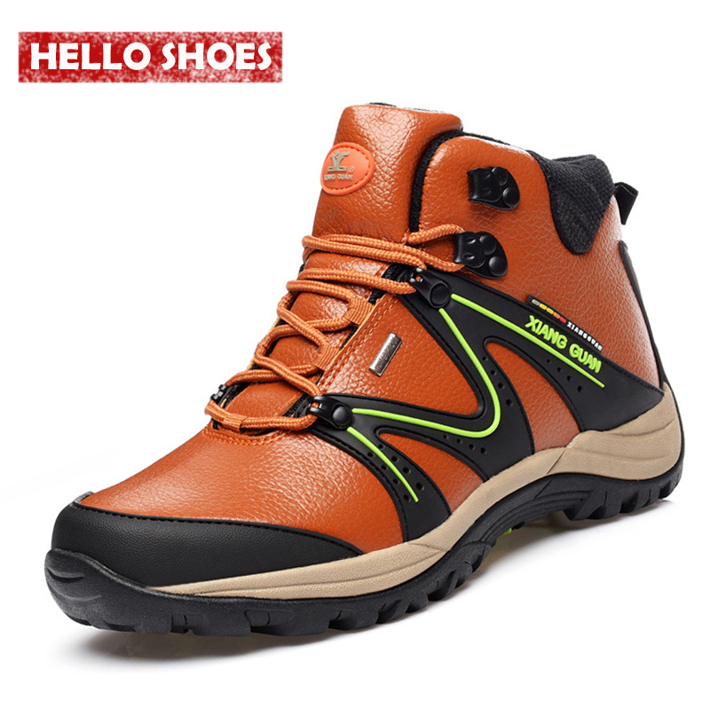 Genuine Leather Sport Men Shoes Winter Outdoor Hiking Shoes High Boots Special Forces Military Boots Trend Of Korean MenS Boots<br>