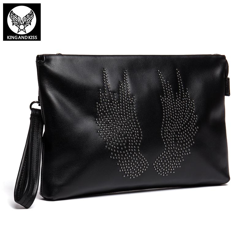 King And Kiss Genuine Leather Black Decorative Rivets Handbags Fashion Women Bag Men Bag Head Layer Cowhide Clutch Bags Sale Hot(China (Mainland))