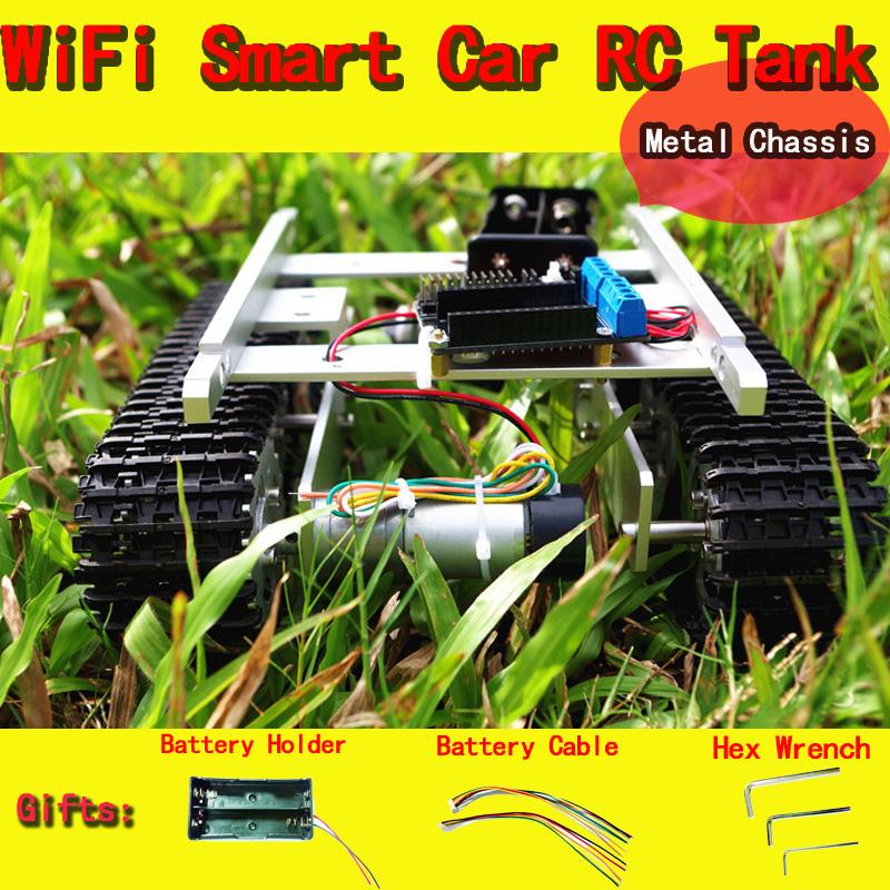 Original DOIT WiFi RC Metal Tank T100 From NodeMCU Development Kit with L293D Motor Shield diy rc toy crawler tracked model toys(China (Mainland))