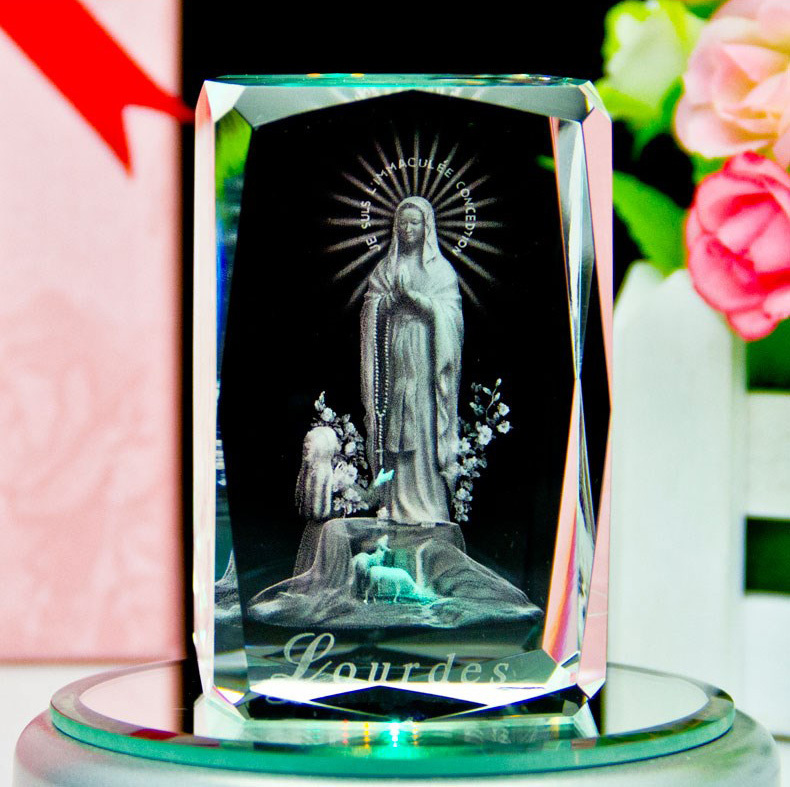 laser photo etched crystal cube with our lady of Lourdes France religious tourism souvenirs and home decoration craft(China (Mainland))