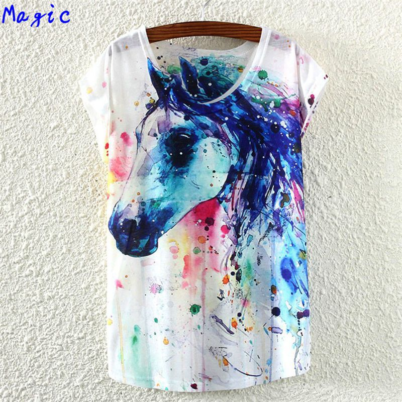 [Magic] 2015 new hot tees short sleeve cotton t-shirt women/girls casual tshirt cartoon/animal print t shirt 21color free ship(China (Mainland))