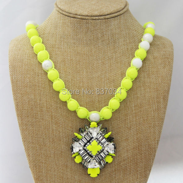 2014 NEW Bohemian Women Bead Charm Long Chain Necklace Jewelry Gift Luxury Crystal Statement Neon Pearl Necklaces & Pendants - Elegantly Store store