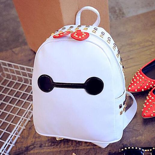 2015 Women Backpacks Rivet Cartoon School Shoulder Bags For Teenagers Girls Pu Leather Laptop Preppy Bookbag Packbag Schoolbags(China (Mainland))