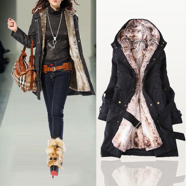 HOT 2017 Women Autumn Winter Fashion Faux Fur Lining Hoody Coat Plus Size Goose Down Parka Jacket  FWO10063