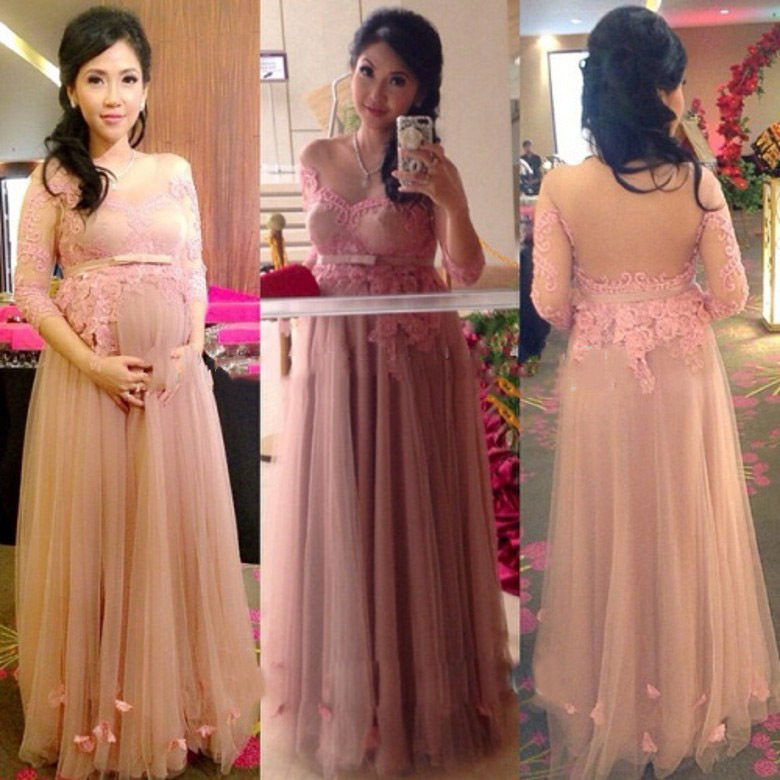 Pink Tulle Appliques Maternity Evening Party Gowns for ...