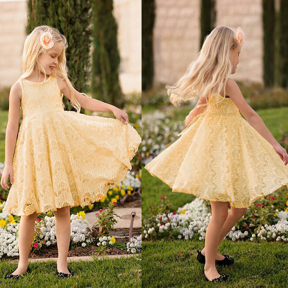 Elegant Kids Baby Girls clothes Princess Party Dress Lace Sleeveless Summer Dress 2-11Y<br><br>Aliexpress