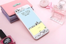 Cartoon cute Panda carbon fiber+Tempered Glass film Protective for iPhone 6 case 6S 6 Plus 6s plus Cover Screen Protector
