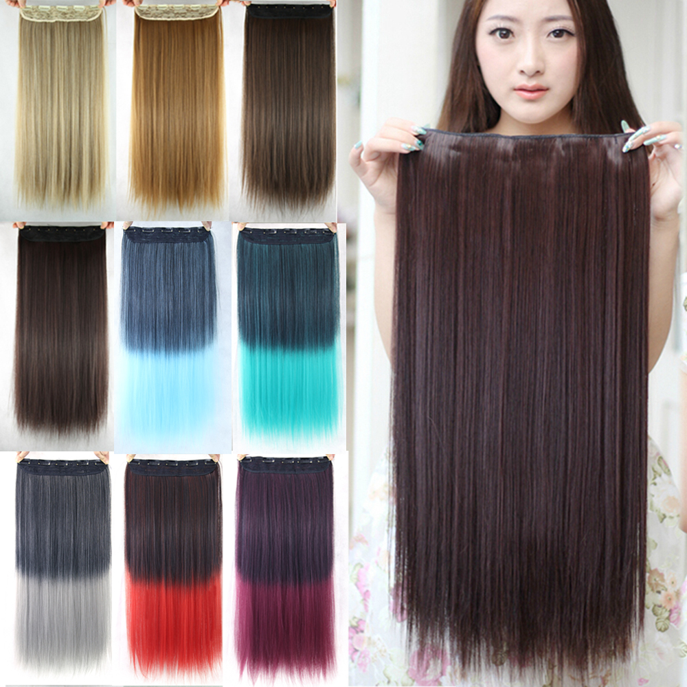20 Colors 60cm 5 Clips Heat Resistant Fiber Synthetic Clip In Hair Extensions Straight Women Hair Extension Hairpiece(China (Mainland))