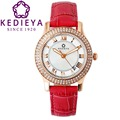 KEDIEYA Watches Women Zircon Diamond Mother of Pearl Waterproof Quartz Watch Ladies Watches Rose Gold Red