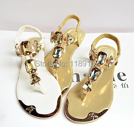 (35-42 yards) free shipping 2014 new summer sandals rhinestone thong sandals women sandals large size metal head(China (Mainland))