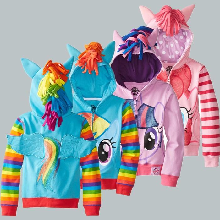 1PCS New 2016 Girls My pony Kids Jacket Children's Coat Cute Girls Coat & Hoodies With Wings Children Clothing Cartoon(China (Mainland))