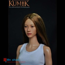 KUMIK Head 1/6 Female Head Sculpt Beautiful Head Carving Model with Blond Hair for 12″ Action Figure Doll Body Toys KM008NP