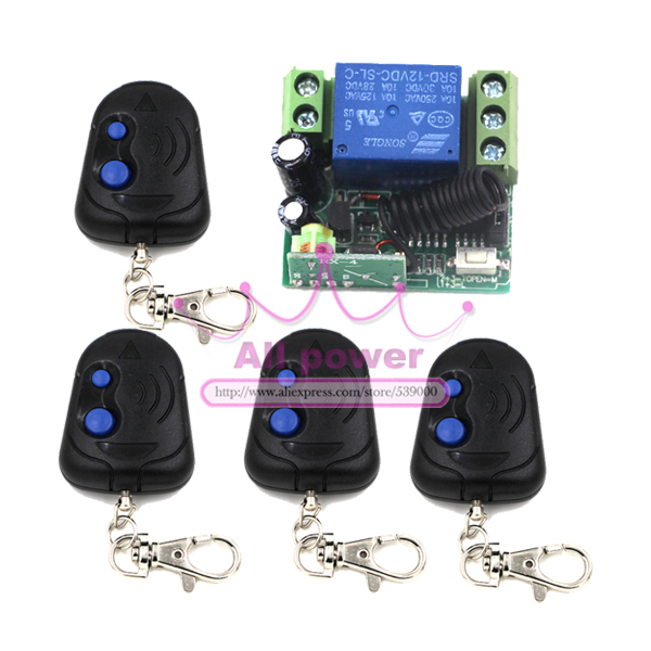 315/433MHz Wireless Remote Switch Control 12V 1Channel (4 Relays)1 Receiver &amp; 4Transmitters<br><br>Aliexpress