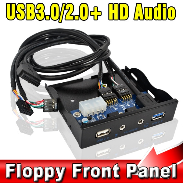 "3.5"" 2 Ports USB3.0 & USB2.0 Hub with HD Audio + Mic Interface for Internal 3.5 Floppy Disk Bay Front Panel Bracket USB 3.0 2.0(China (Mainland))"