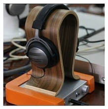High quality walnut headset receiver stand headphone stand free shipping, elegent U-type wooden earphone display rack