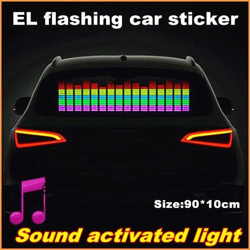 90x10 Genuine High Quality Equalizer Sound Active flashing EL car Sticker 5colors Car Music Rhythm Lamp free shipping CE RoHS(China (Mainland))
