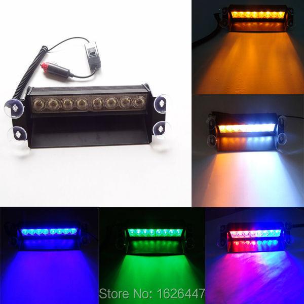 High Power 8 LED Strobe Flash Warning EMS light police Car Light Flashing Firemen Fog Lights led traffic light(China (Mainland))