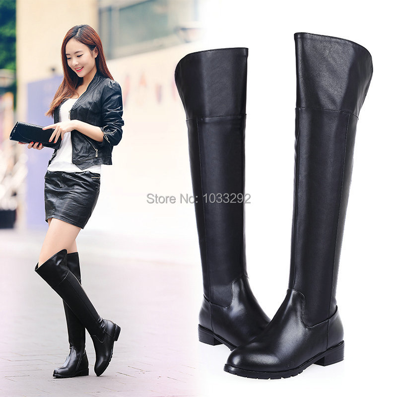 Flat Heel Thigh High Boots - Boot Hto