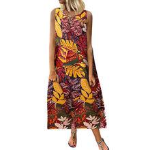 ชุดสตรี Plus ขนาดลำลองหลวม Boho Retro ผ้าลินินพิมพ์ชุด Maxi ยาว vestidos verano 2019 mujer(China)