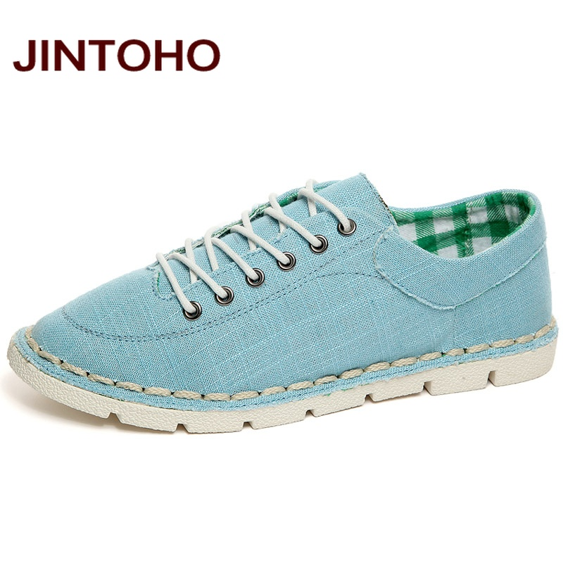 JINTOHO Summer Men Casual Shoes Fashion Breathable Canvas Men Shoes Blue Walking Shoes Luxury Brand Men Trainers Zapatillas(China (Mainland))