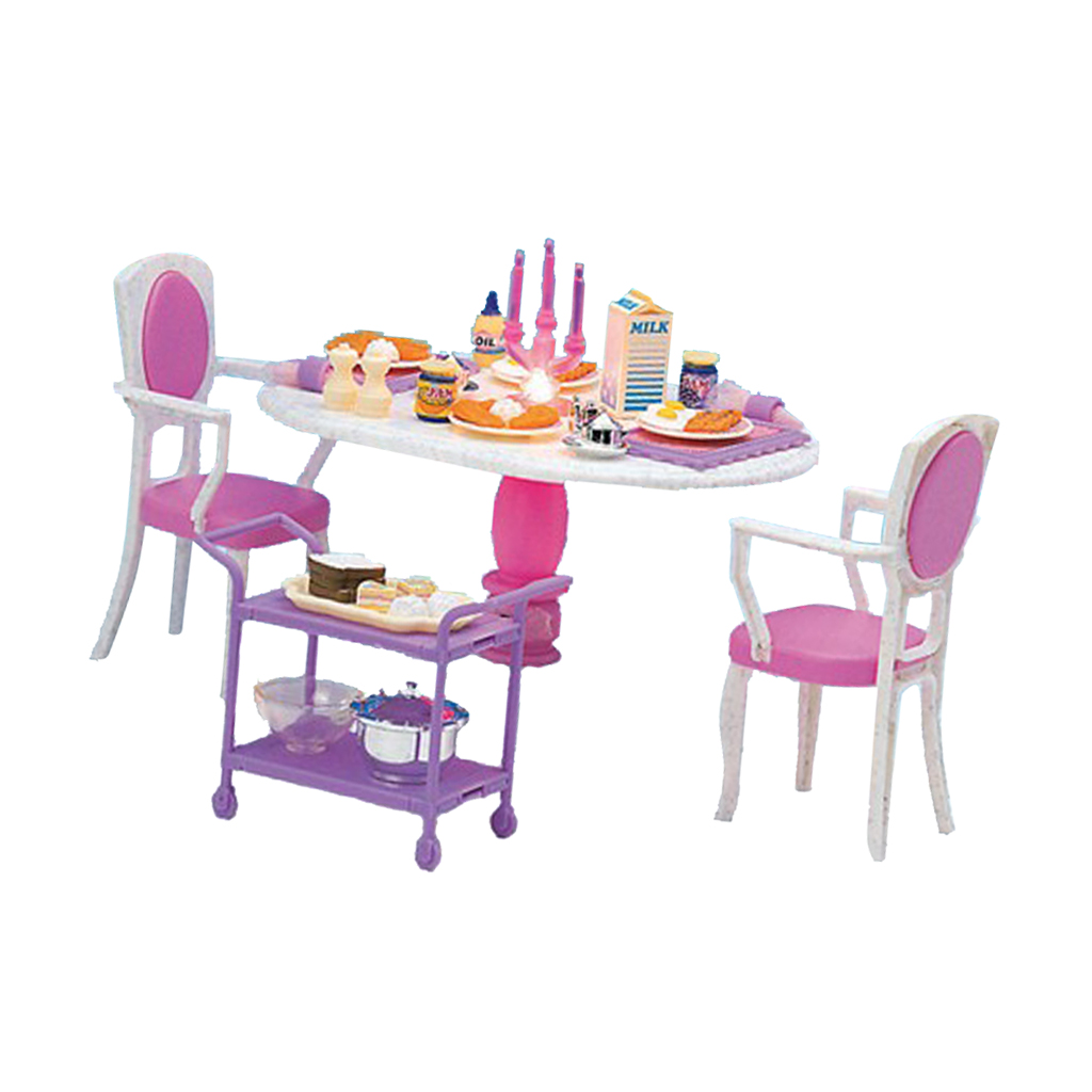 1/6 Dining Table Chair Foods for   Dollhouse Dining Room Furniture Kit Action Figures Accessory