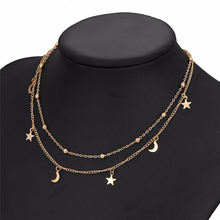 Buy Simple Newest fashion jewelry accessories gold color Double layer moon stars chain choker necklace couple lovers' N366 for $1.49 in AliExpress store