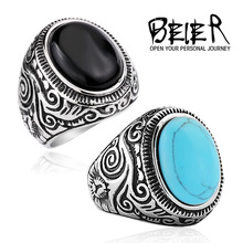 Natural Oval Opal Green Turquoise Ring Stainless Steel Vintage Nobel Palace Ring For Woman Man Europe Middle Ages Style BR8-186(China (Mainland))