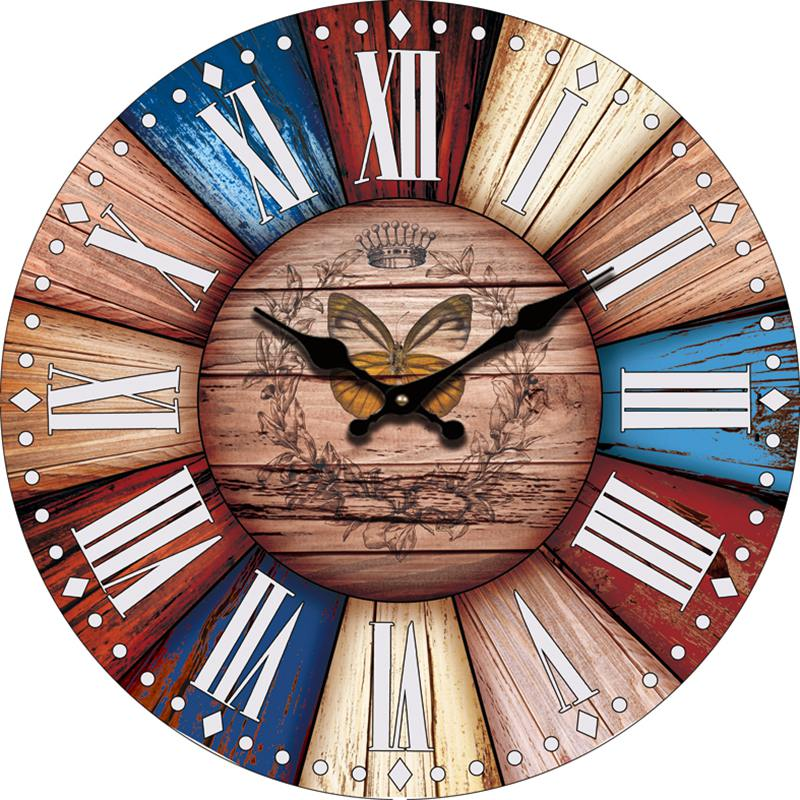Home Decor Chinese Retro Modern Wall Clock Butterfly Large Antique Wooden Wall Clock Roman Numerals Office Decoration(China (Mainland))