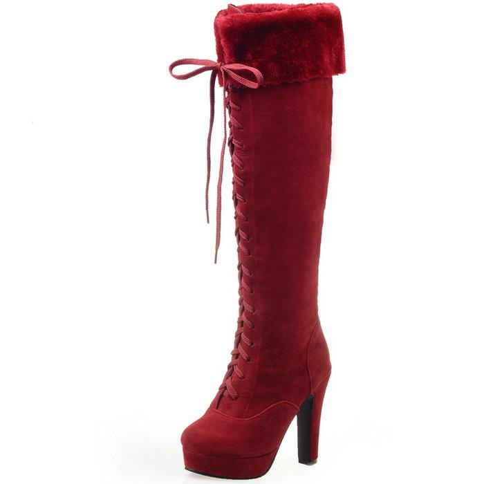 Women's Knee Boots Round toe Square Heel High Heels Autumn Winter Women Shoes Lace-up Platform Women Boots Knee High Boots