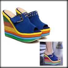 by dhl or ems 100pair summer platform flower platform wedges platform high-heeled slip-resistant female slippers(China (Mainland))