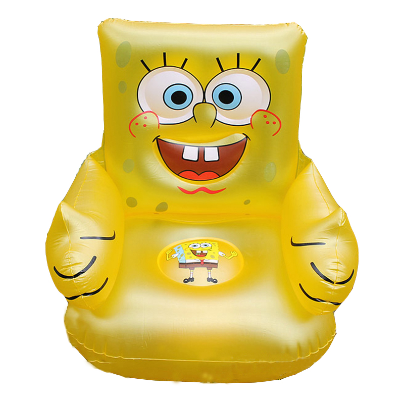 For Kid 1-6 Years Old Cute Portable Cartoon Sponge Bob Children's Toy Chairs Lovely Inflatable Sofa Kids' PVC Chairs Baby Seats(China (Mainland))